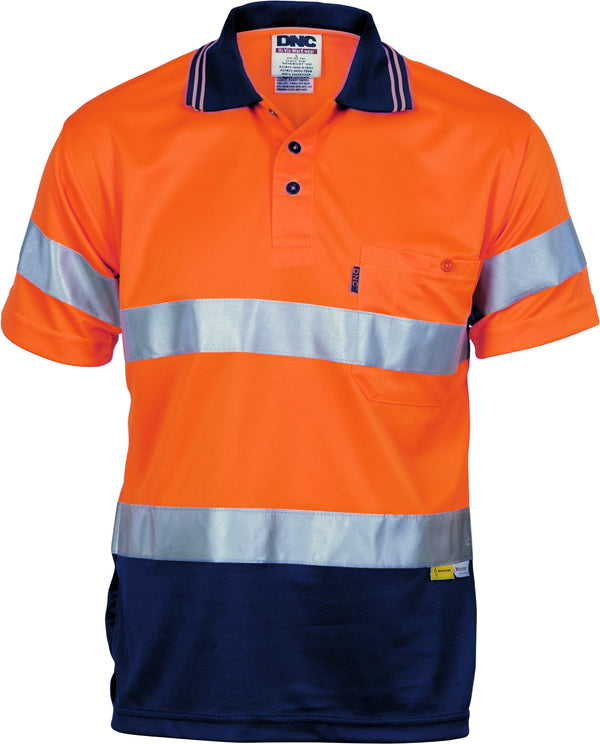 Hivis D/N Cool Breathe Short Sleeve Polo Shirt With 3M R/Tape