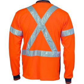 Hivis D/N Cool-Breathe Long Sleeve Polo Shirt With Cross Back R/Tape