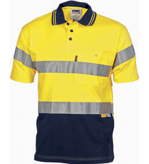 Hi Vis Cool-Breeze Cotton Short Sleeve Jersey Polo With 3m R/Tape
