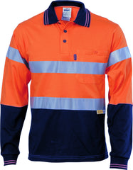 Hi Vis Cool-Breeze Cotton Long Sleeve Jersey Polo With 3m R/Tape