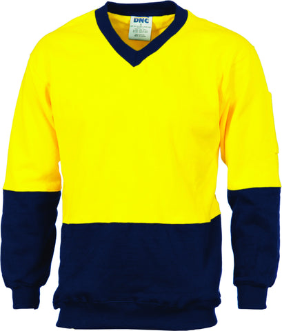 Picture of HiVis Two Tone Cotton Fleecy Sweat Long Sleeve V-Neck