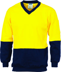 HiVis Two Tone Cotton Fleecy Sweat Long Sleeve V-Neck