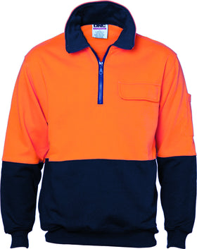 HiVis Two Tone 1/2 Zip Cotton Fleecy Long Sleeve Windcheater