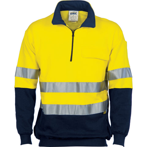 Picture of HiVis Two Tone 1/2 Zip Cotton Fleecy Long Sleeve Windcheater