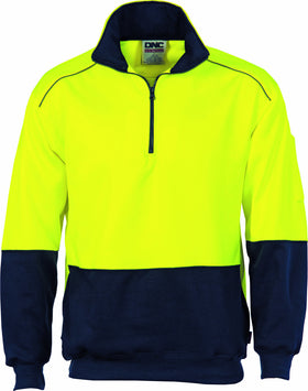 HiVis Two Tone 1/2 Zip Reflective Piping Sweat Shirt