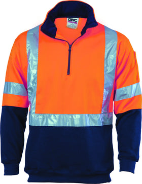HiVis 1/2 Zip Fleecy With Reflective Tape Cross Back