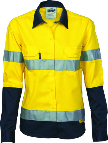 Picture of Ladies HiVis Two Tone Drill Long Sleeve With Reflective Tape