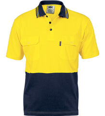 DNC HiVis Cool-Breeze 2 Tone Cotton Jersey Short Sleeve Polo With Twin Chest Pocket