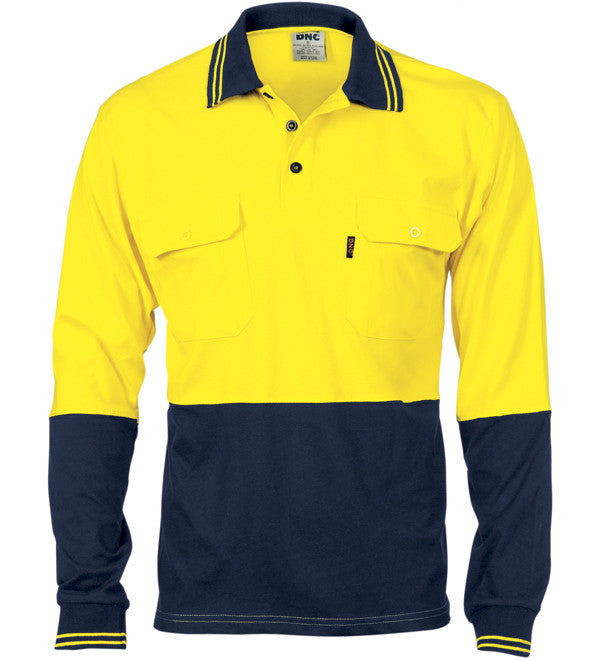 DNC HiVis Cool-Breeze 2 Tone Cotton Jersey Long Sleeve Polo With Twin Chest Pocket