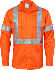 HiVis Cool-Breeze Cross Back Cotton Long Sleeve With Reflective Tape