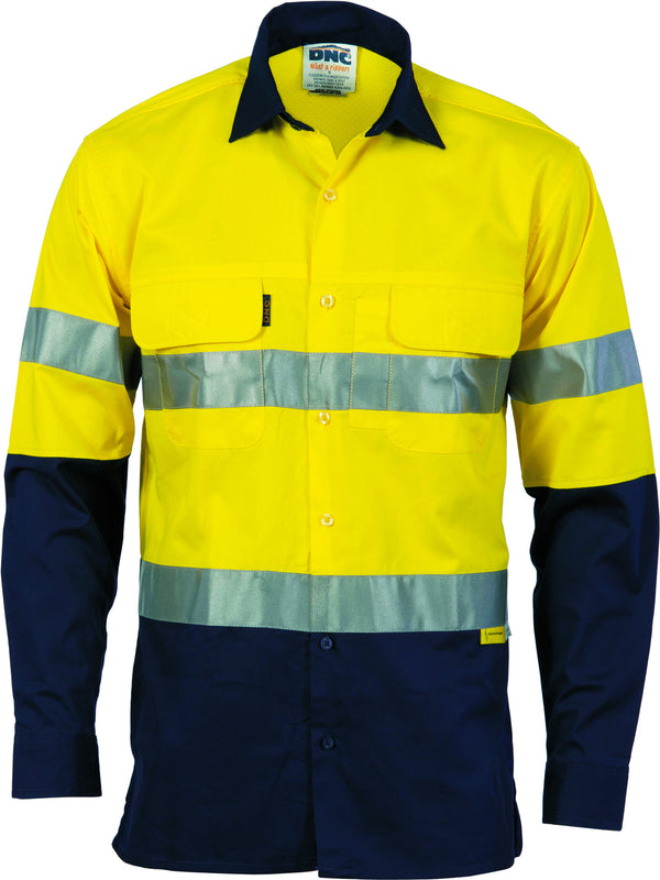 HiVis Three Way Cool-Breeze Cotton Long Sleeve With Reflective Tape