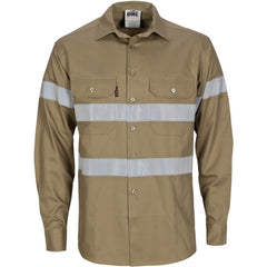 HiVis Cool-Breeze Cotton Long Sleeve With Generic Reflective Tape