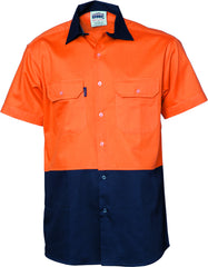 HiVis Two Tone Cotton Drill Vented Short Sleeve