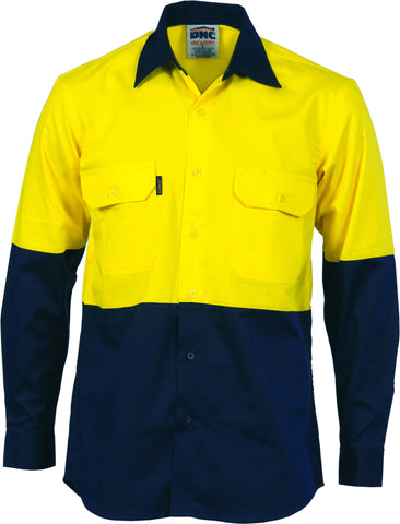 Picture of HiVis Two Tone Cotton Drill Vented Long Sleeve