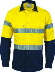 HiVis D/N 2 Tone Long Sleeve Drill Shirt with Generic R/Tape