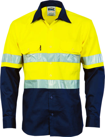 Picture of HiVis Cool-Breeze Vertical Vented Cotton Long Sleeve With Generic Reflective Tape