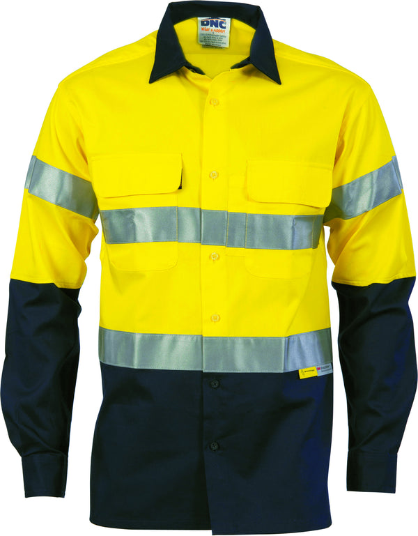 HiVis Two Tone Cool-Breeze Cotton Long Sleeve With Reflective Tape
