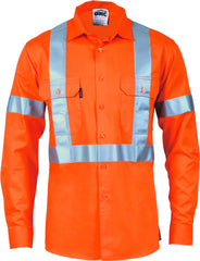 HiVis D/N Cotton Long Sleeve With Cross Back Generic Reflective Tape