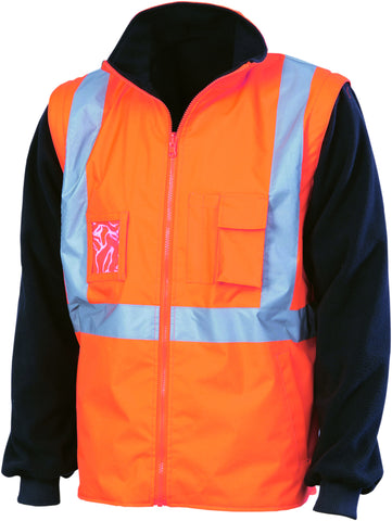 "Picture of HiVis ""4 in 1"" Zip Off Sleeve Revisable Vest, Cross Back With Additional Tape On Back"