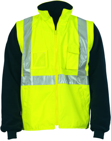 "Picture of HiVis Cross Back D/N ""4 in 1"" Zip Off Sleeve Reversible Vest"