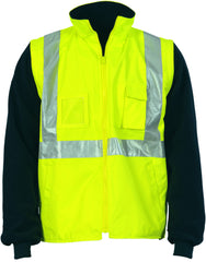 "HiVis Cross Back D/N ""4 in 1"" Zip Off Sleeve Reversible Vest"