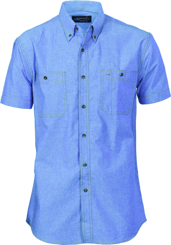 Mens Cotton Chambray Short Sleeve Shirt