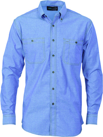 Picture of Cotton Chambray Twin Pocket Long Sleeve Shirt