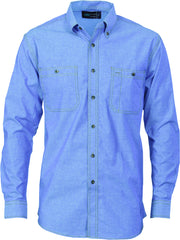 Cotton Chambray Twin Pocket Long Sleeve Shirt