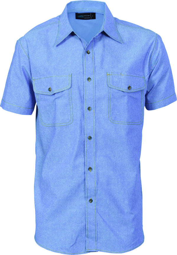 Mens Cotton Twin Pocket Short Sleeve Shirt