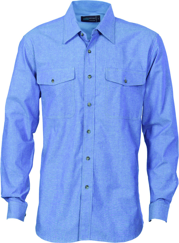 Mens Cotton Twin Pocket Long Sleeve Chambray Shirt