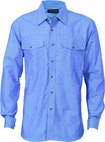 Picture of Mens Cotton Twin Pocket Long Sleeve Chambray Shirt