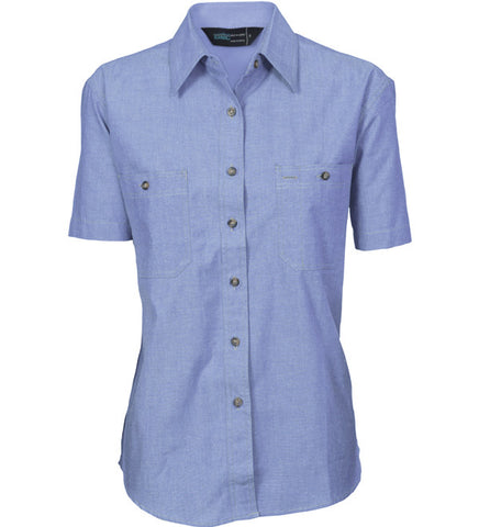 Picture of Ladies Cotton Chambray Short Sleeve Shirt