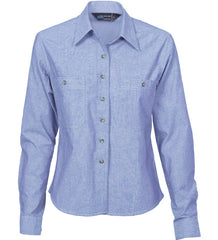 Ladies Cotton Chambray Long Sleeve Shirt