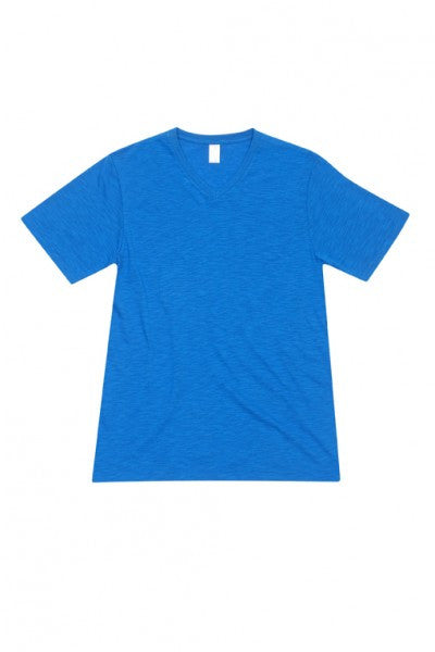 Mens Raw Cotton Wave V-Neck T-Shirt