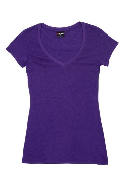 Ladies Raw Cotton Wave V-Neck T-Shirt