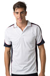 Mens White Cooldry Panel Polo