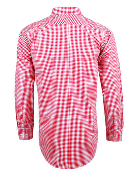 CSU Reddies Men's Gingham Check Long Sleeve Shirt with Roll-up Tab Sleeve