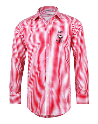 Picture of CSU Reddies Men's Gingham Check Long Sleeve Shirt with Roll-up Tab Sleeve