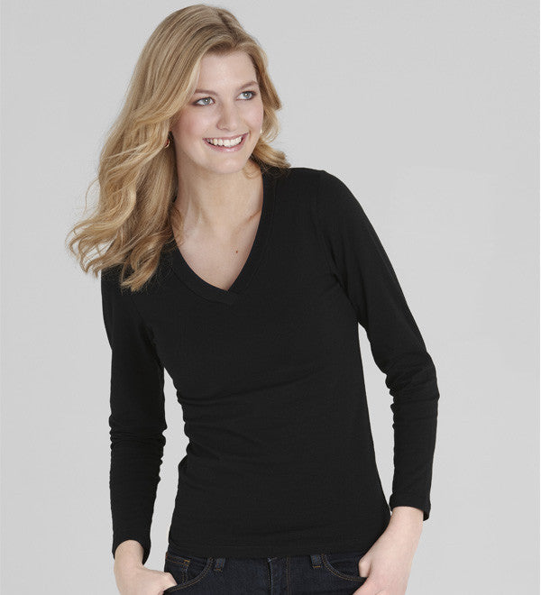 Ladies Long Sleeve V Neck Tee