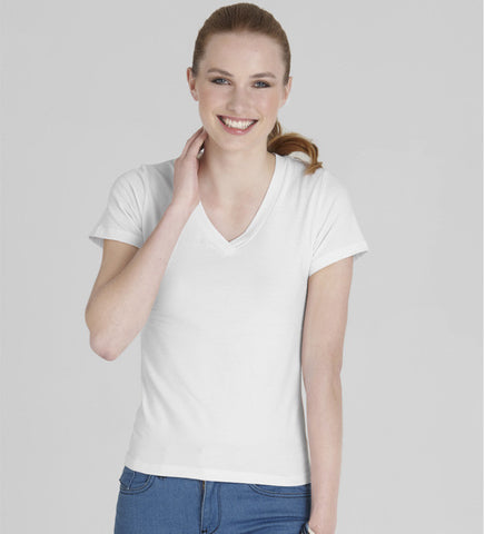 Picture of Ladies Short Sleeve V Neck Tee