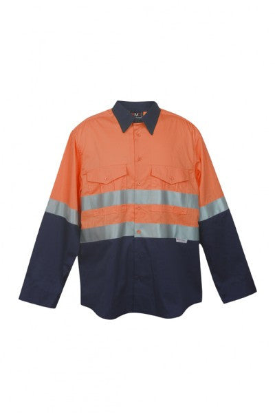 Mens 3M Reflective Panel Combed Cotton Long Sleeve Shirt