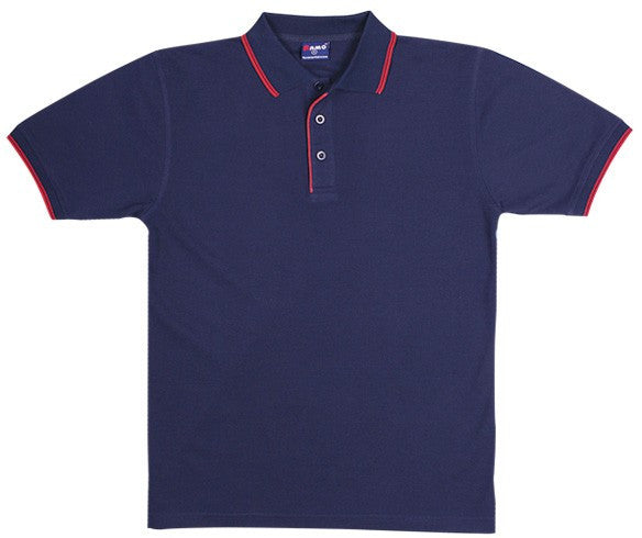 Mens Double Stripe Trim Collar Polo
