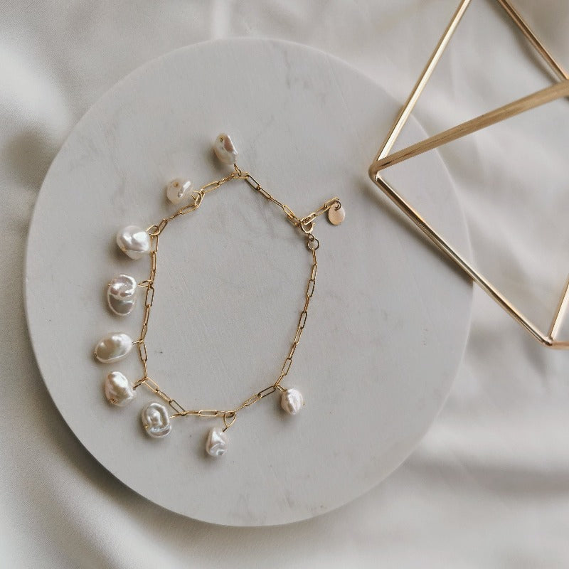Zenelia Jewel Limitless Collection Alexa Bracelet freshwater baroque keshi pearl 14k gold filled zenelia jewel pearl jewellery pearl necklace keshi pearl earrings baroque pearl bracelet fashion jewellery sterling silver earrings