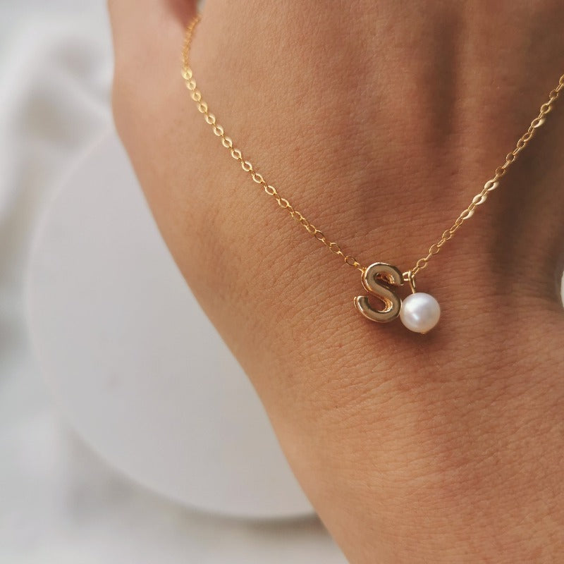 Rise | Initial Letter + Pearl Necklace
