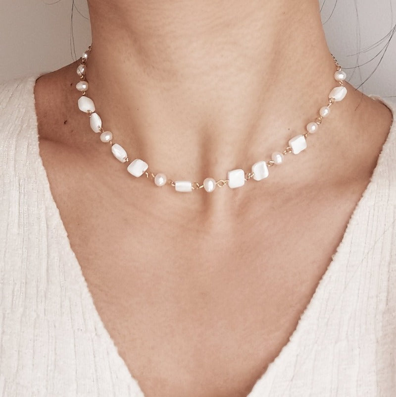 Fairy | Quinn Mother Pearl Choker Necklace