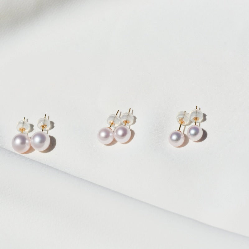 Essentials | Ava Pearl Ear Studs (18k Gold)