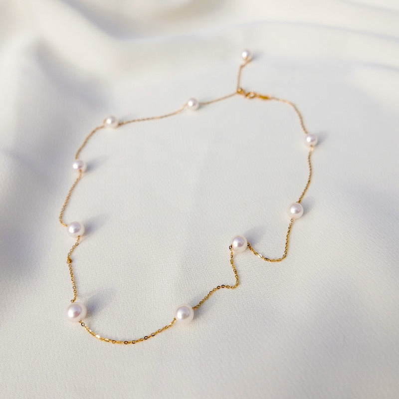 Essentials | Aria Pearl Necklace (18k Gold)