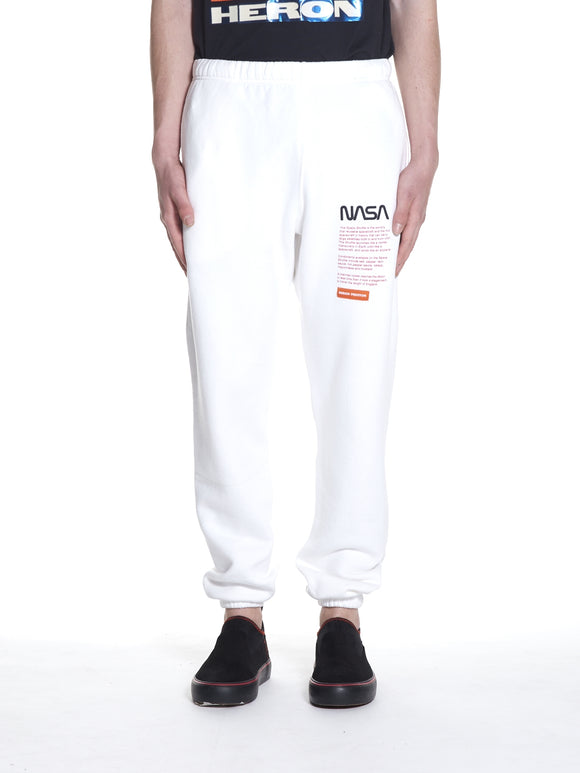 HERON PRESTON NASA SLIP SWEATPANTS WHITE - deviceone