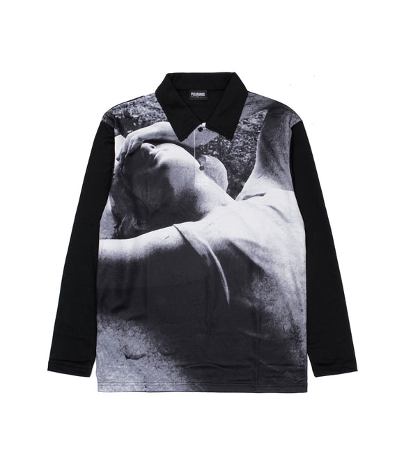 PLEASURES X JOY DIVISION APART LONGSLEEVE POLO SHIRT BLACK - deviceone