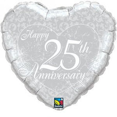 "Happy 25th Anniversary Heart - 18"" Foils"